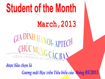 Học viên tiêu biểu tháng 3/2013