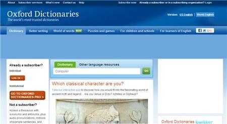 Bộ từ điển Oxford Dictionary trực tuyến