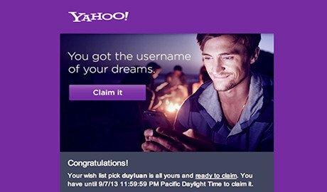 Yahoo bắt đầu gửi email thông báo về việc cấp tên tài khoản theo ý muốn