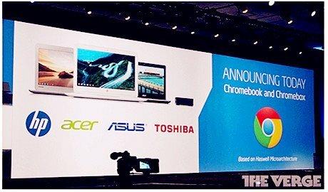 """Google """"bắt tay"""" Intel, Asus và Toshiba sản xuất Chromebook mới"""