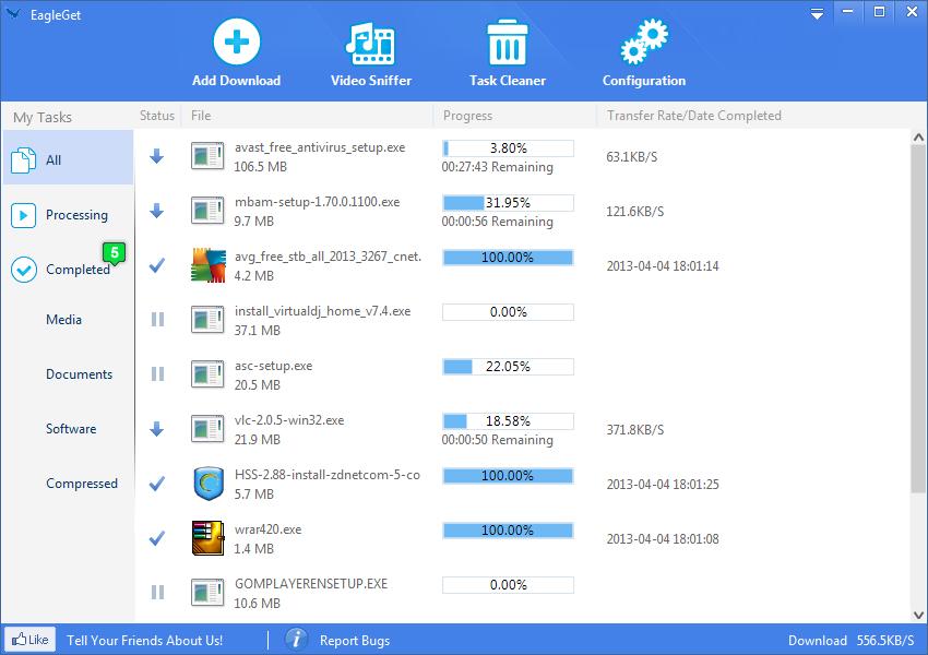 Tăng tốc tải file với EagleGet