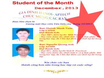 Học viên xuất sắc tháng 12/2013