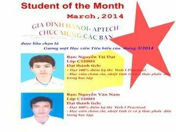 Danh hiệu học viên tiêu biểu tháng 3/2014