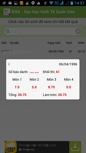 Xem điểm chuẩn thi Đại học 2014 cực nhanh cùng ứng dụng Android-4