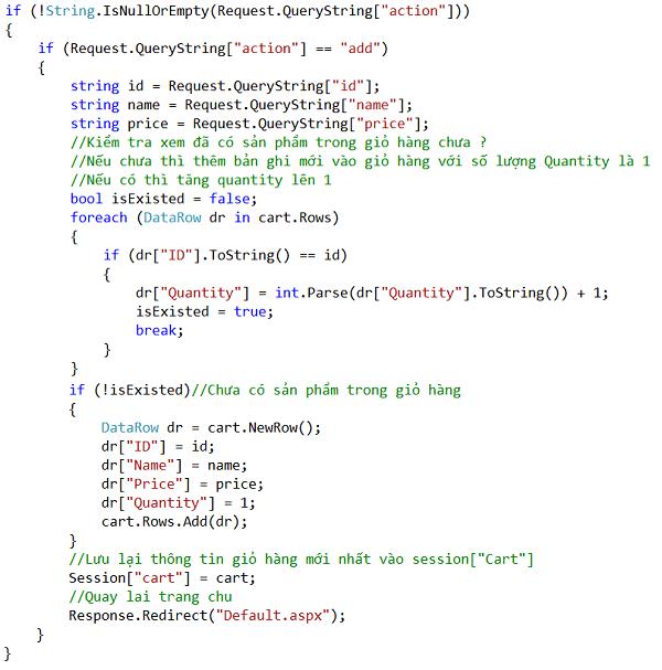 Hướng dẫn tạo giỏ hàng trong ASP.NET