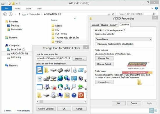 chọn icon cho thư mục trong windows