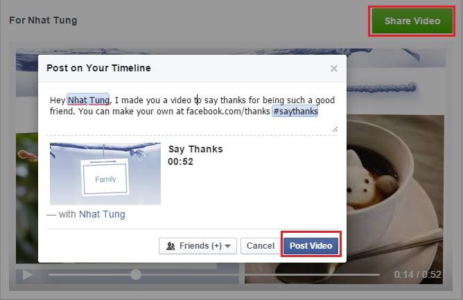 Hướng dẫn tạo video cảm ơn với ứng dụng Say Thanks trên Facebook
