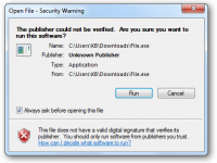cảnh báo open file security warning